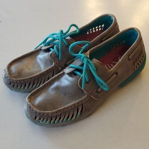 Twisted X Bomber and Turquoise Serated Moc Size 7M